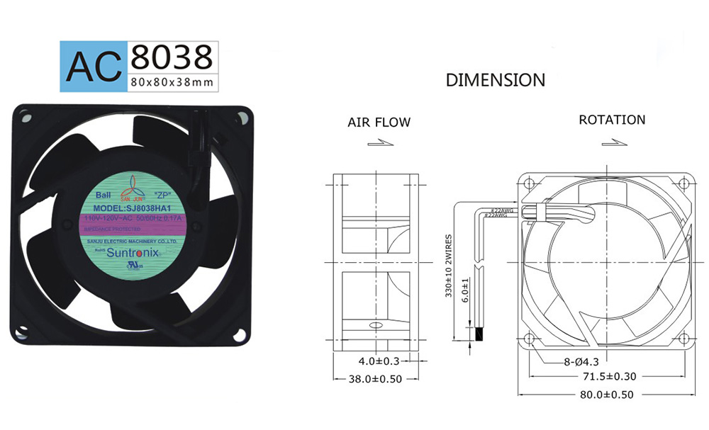 Taiwan Sanju SJ8038HA2-AC axial flow fan