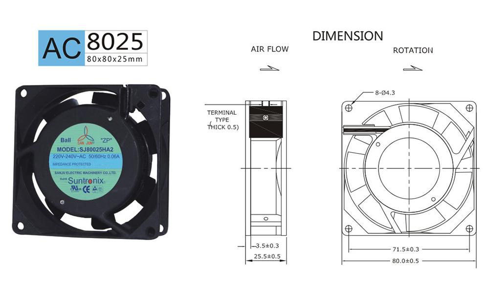 Taiwan Sanju SJ8025HA2-AC axial flow cooling fan