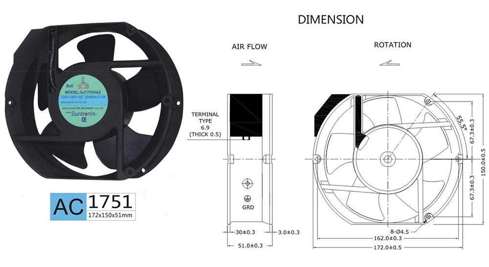 Taiwan Sanju SJ1751HA1-AC axial flow fan